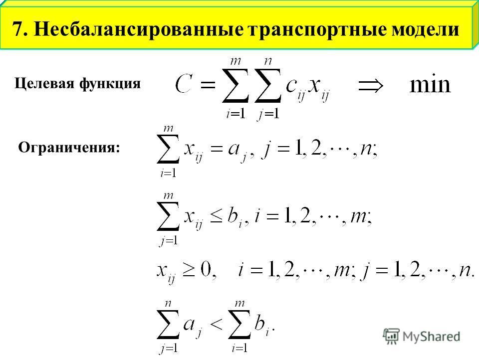 Целевая функция Ограничения: 7. Несбалансированные транспортные модели