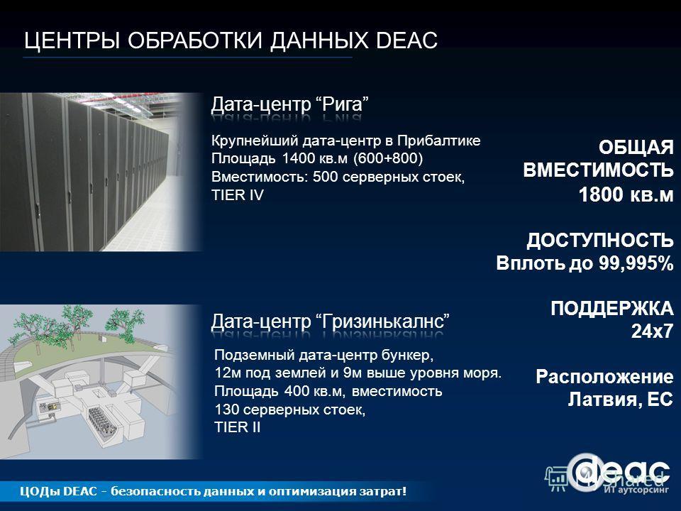 ЦЕНТРЫ ОБРАБОТКИ ДАННЫХ DEAC Крупнейший дата-центр в Прибалтике Площадь 1400 кв.м (600+800) Вместимость: 500 серверных стоек, TIER IV Подземный дата-центр бункер, 12м под землей и 9м выше уровня моря. Площадь 400 кв.м, вместимость 130 серверных стоек
