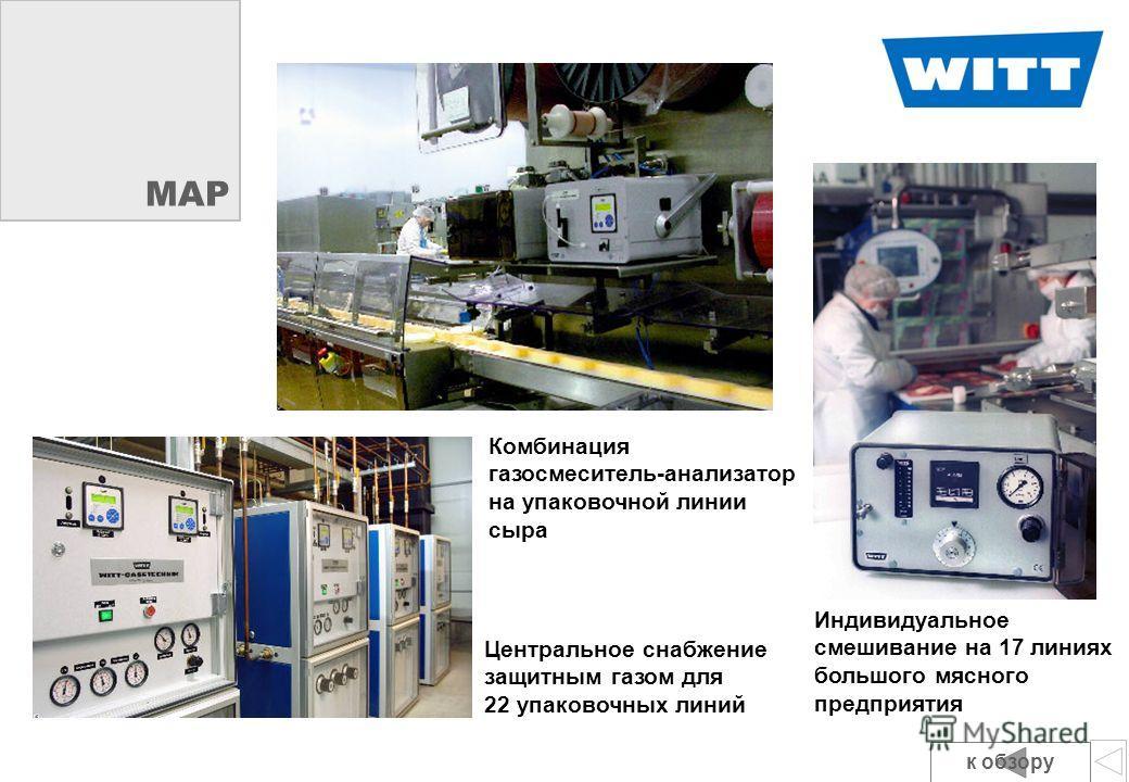 Bei spi ele MAP Центральное снабжение защитным газом для 22 упаковочных линий Индивидуальное смешивание на 17 линиях большого мясного предприятия Комбинация газосмеситель-анализатор на упаковочной линии сыра к обзору