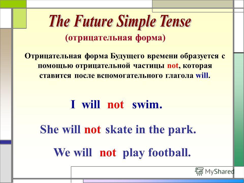 (отрицательная форма) Отрицательная форма Будущего времени образуется с помощью отрицательной частицы not, которая ставится после вспомогательного глагола will. I willnotswim. She willnotskate in the park. We willnotplay football.