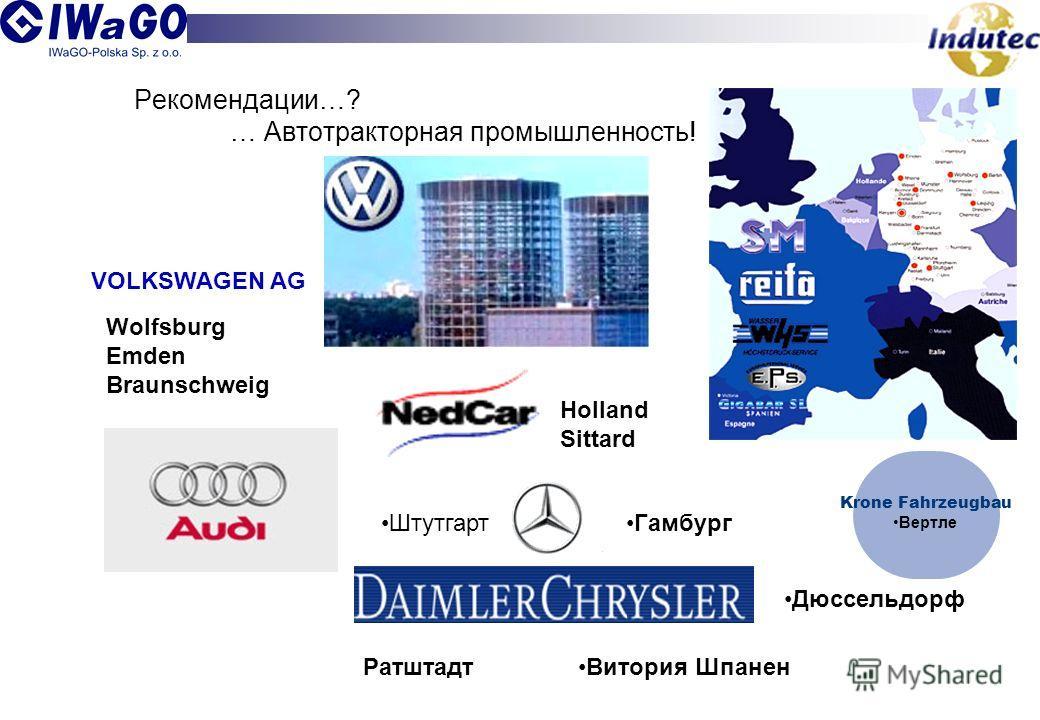 Рекомендации…? … Автотракторная промышленность! VOLKSWAGEN AG Wolfsburg Emden Braunschweig Витория ШпаненРатштадт Дюссельдорф ГамбургШтутгарт Holland Sittard Krone Fahrzeugbau Вертле