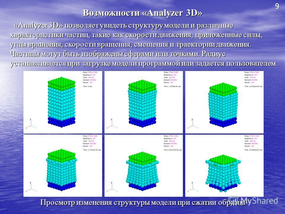 Возможности «Analyzer 3D» «Analyzer 3D» позволяет увидеть структуру модели и различные характеристики частиц, такие как скорости движения, приложенные силы, углы вращения, скорости вращения, смещения и траектории движения. Частицы могут быть изображе