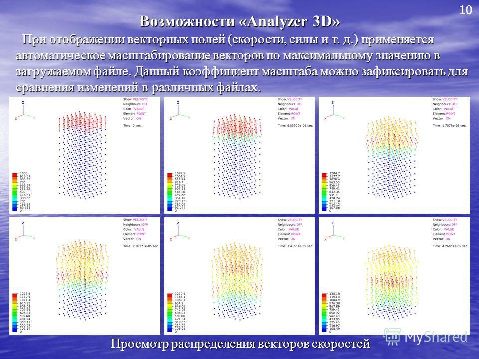 Возможности «Analyzer 3D» При отображении векторных полей (скорости, силы и т. д.) применяется автоматическое масштабирование векторов по максимальному значению в загружаемом файле. Данный коэффициент масштаба можно зафиксировать для сравнения измене