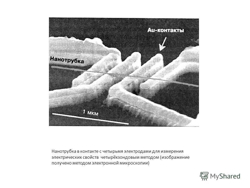Нанотрубка в контакте с четырьмя электродами для измерения электрических свойств четырёхзондовым методом (изображение получено методом электронной микроскопии)