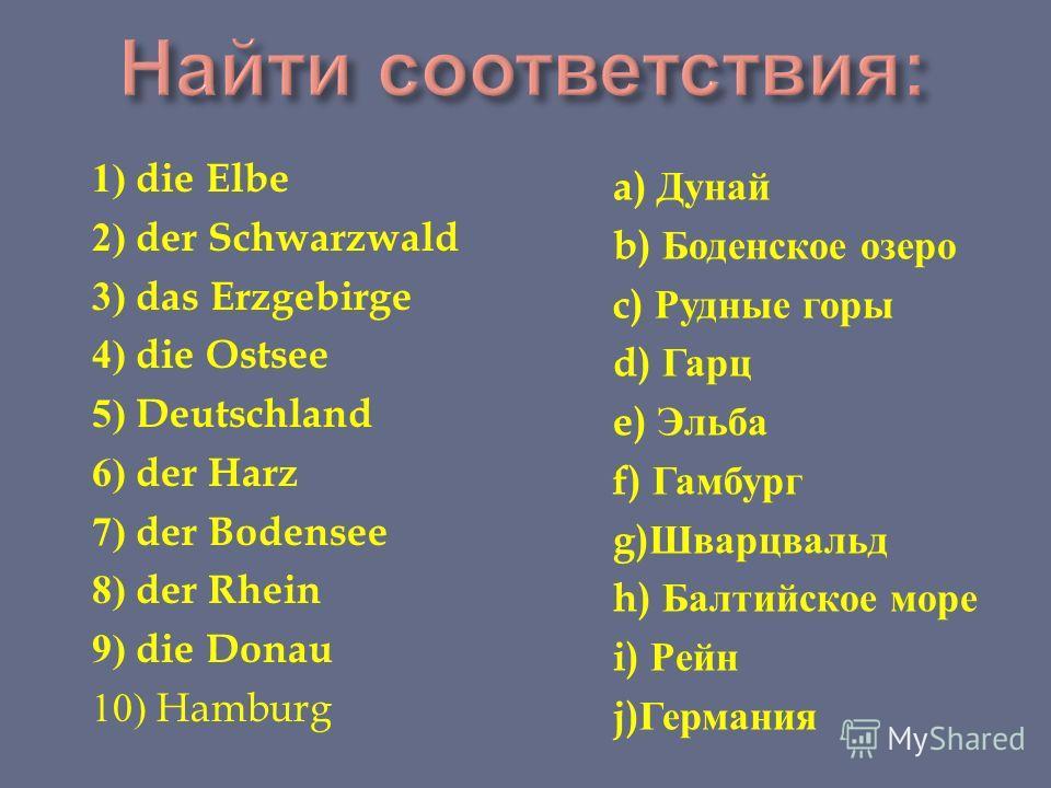 1) die Elbe 2) der Schwarzwald 3) das Erzgebirge 4) die Ostsee 5) Deutschland 6) der Harz 7) der Bodensee 8) der Rhein 9) die Donau 10) Hamburg a) Дунай b) Боденское озеро c) Рудные горы d) Гарц e) Эльба f) Гамбург g) Шварцвальд h) Балтийское море i)