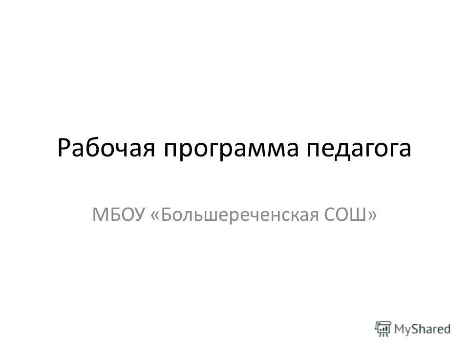 Рабочая программа педагога МБОУ «Большереченская СОШ»