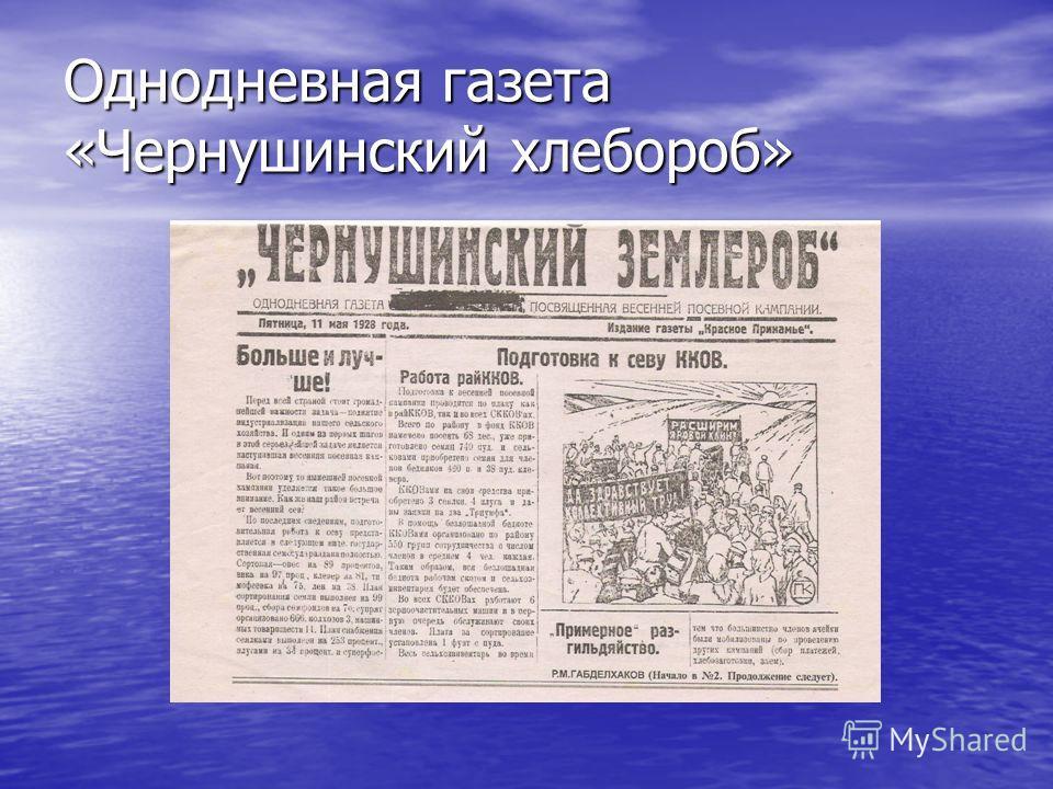Однодневная газета «Чернушинский хлебороб»