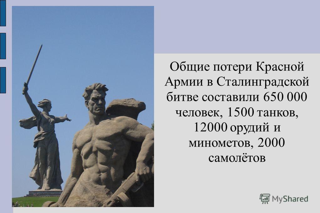 Общие потери Красной Армии в Сталинградской битве составили 650 000 человек, 1500 танков, 12000 орудий и минометов, 2000 самолётов