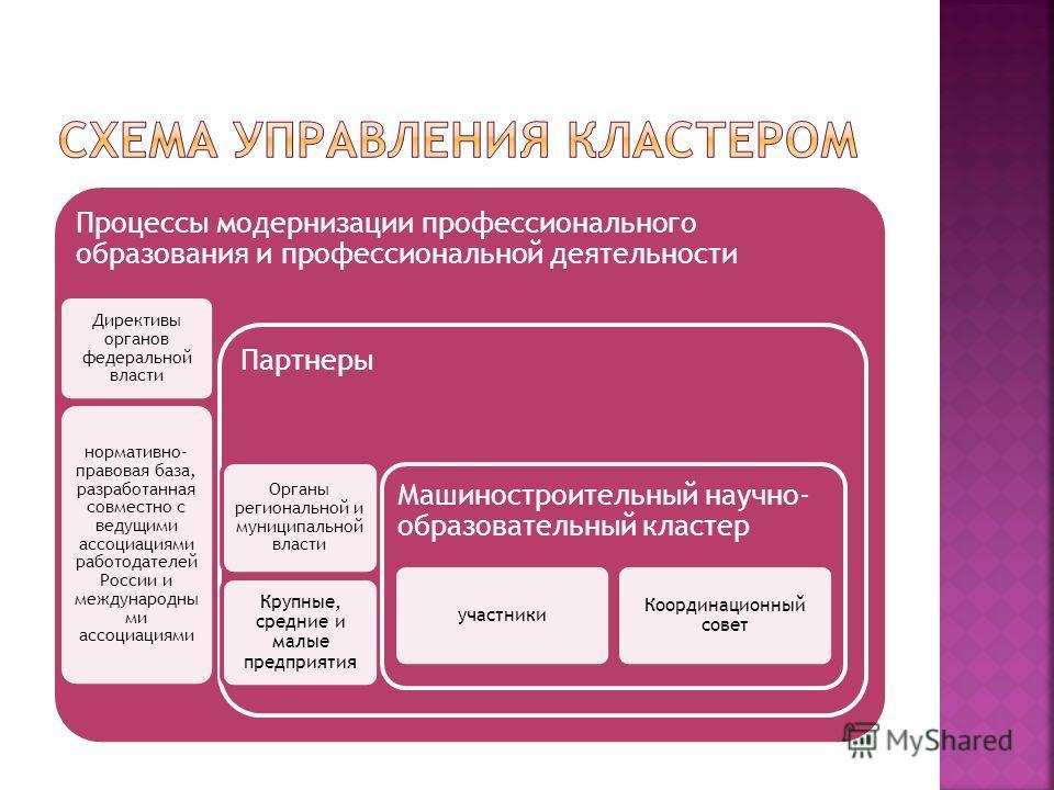 Процессы модернизации профессионального образования и профессиональной деятельности Директивы органов федеральной власти нормативно- правовая база, разработанная совместно с ведущими ассоциациями работодателей России и международны ми ассоциациями Па
