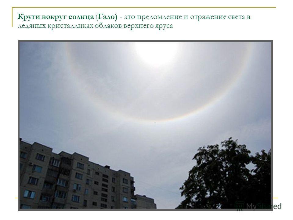 Круги вокруг солнца (Гало) - это преломление и отражение света в ледяных кристалликах облаков верхнего яруса