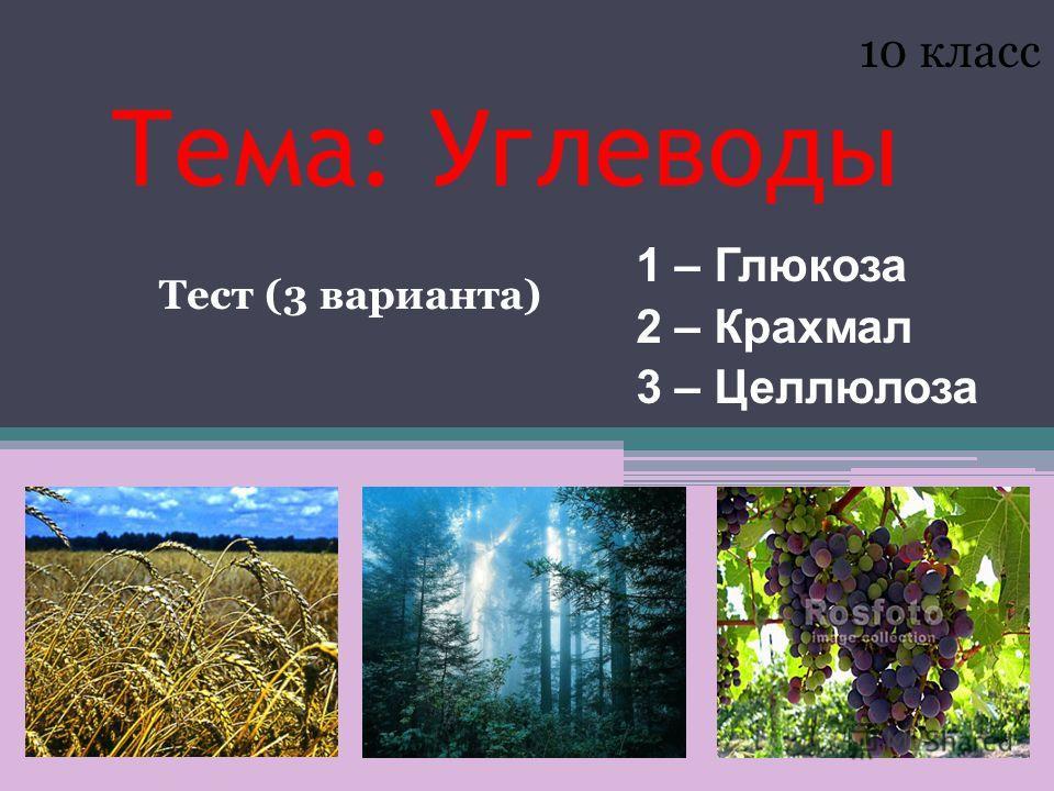 Тема: Углеводы 1 – Глюкоза 2 – Крахмал 3 – Целлюлоза 10 класс Тест (3 варианта)