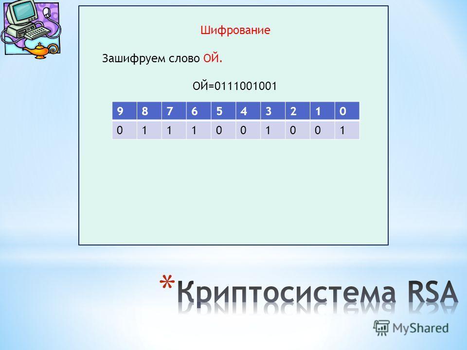 Шифрование Зашифруем слово ОЙ. ОЙ=0111001001 9876543210 0111001001