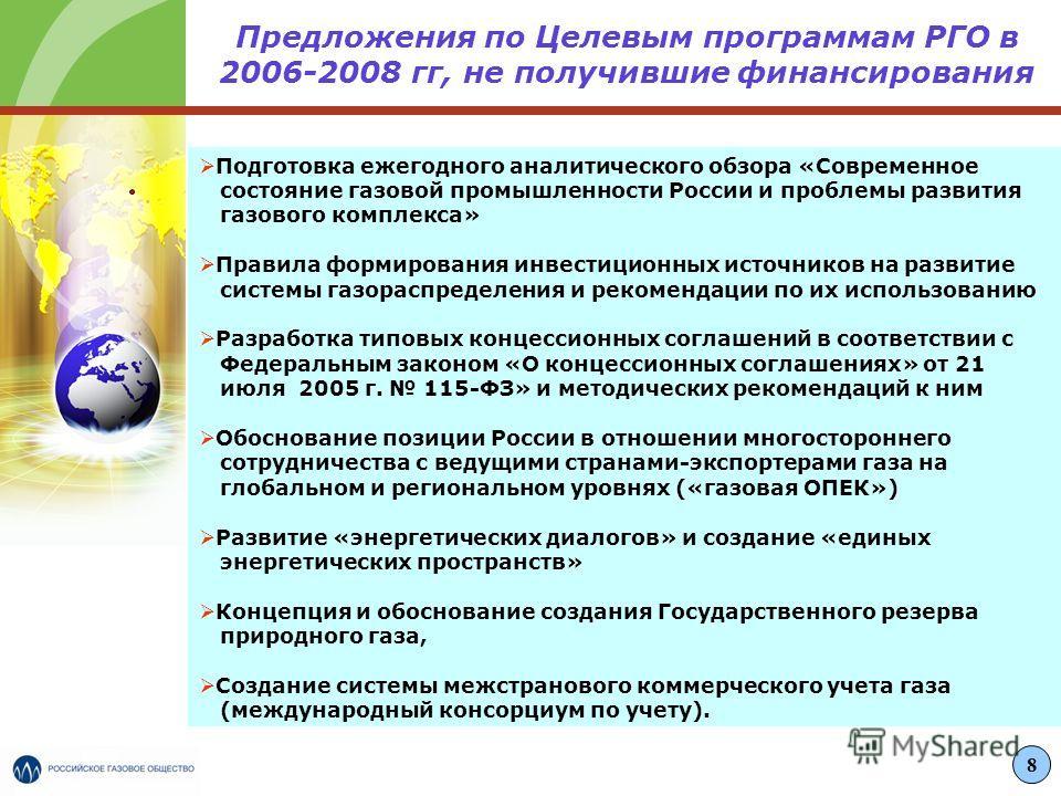 Предложения по Целевым программам РГО в 2006-2008 гг, не получившие финансирования Подготовка ежегодного аналитического обзора «Современное состояние газовой промышленности России и проблемы развития газового комплекса» Правила формирования инвестици