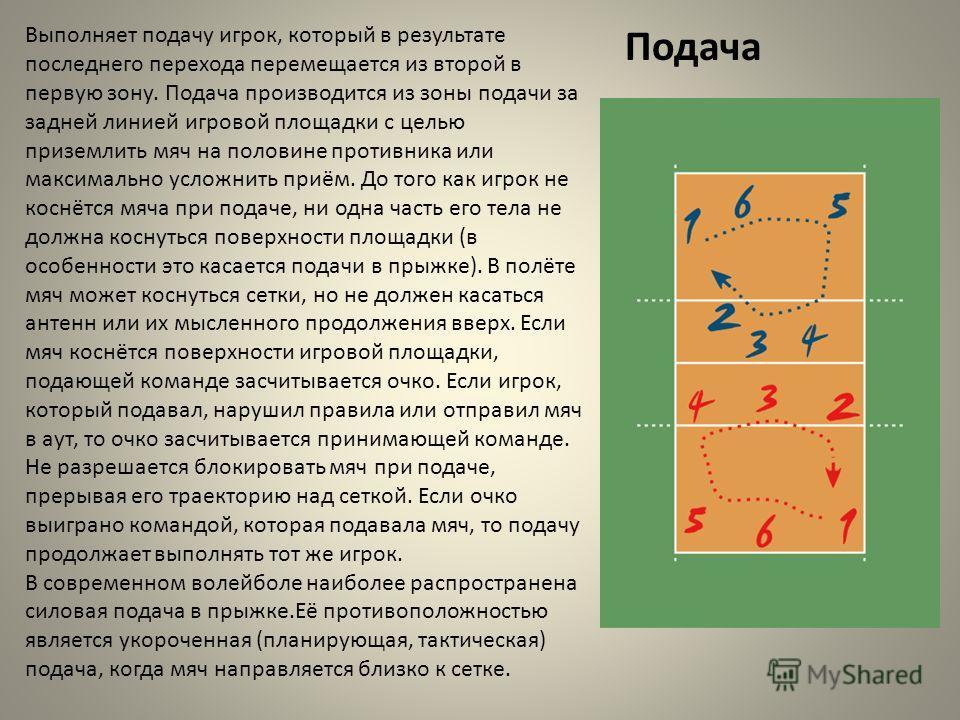 Подача Выполняет подачу игрок, который в результате последнего перехода перемещается из второй в первую зону. Подача производится из зоны подачи за задней линией игровой площадки с целью приземлить мяч на половине противника или максимально усложнить