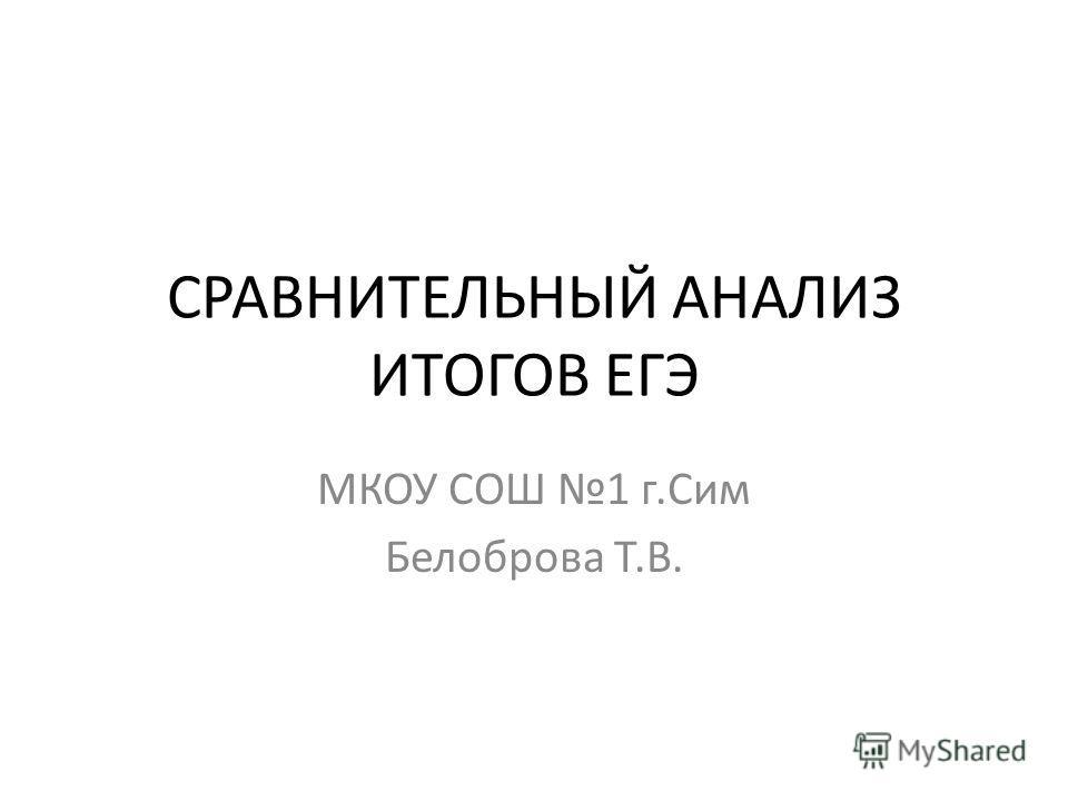 СРАВНИТЕЛЬНЫЙ АНАЛИЗ ИТОГОВ ЕГЭ МКОУ СОШ 1 г.Сим Белоброва Т.В.