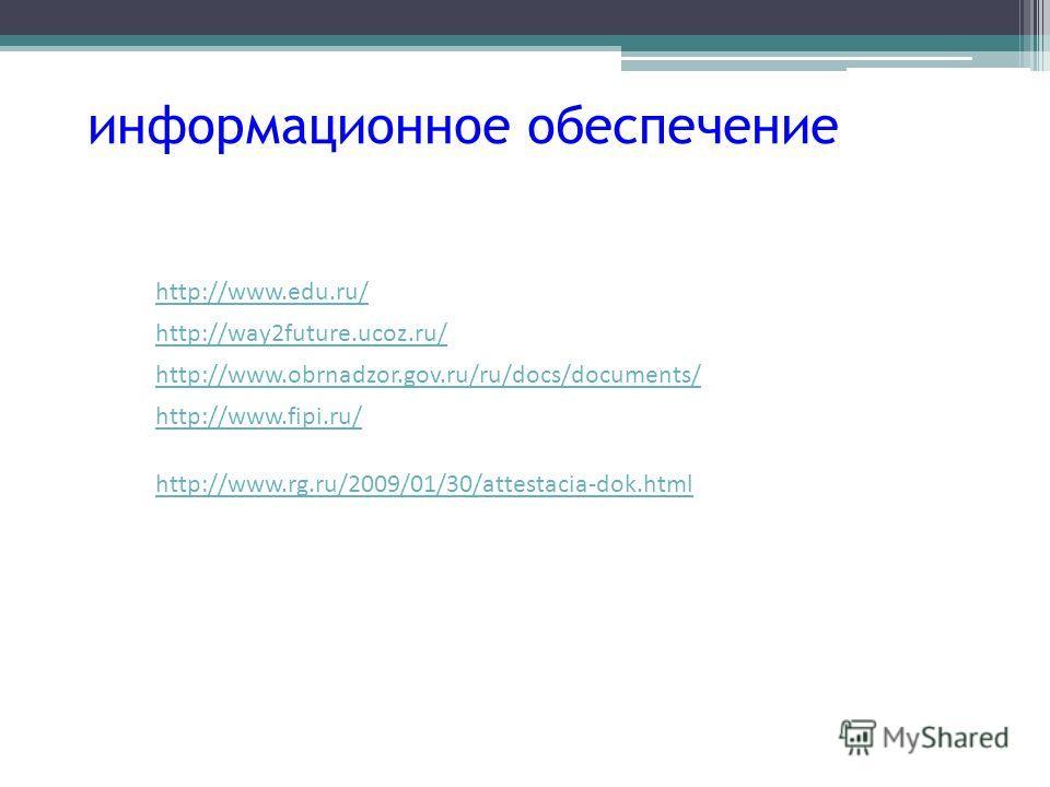 информационное обеспечение http://www.edu.ru/ http://www.obrnadzor.gov.ru/ru/docs/documents/ http://way2future.ucoz.ru/ http://www.fipi.ru/ http://www.rg.ru/2009/01/30/attestacia-dok.html