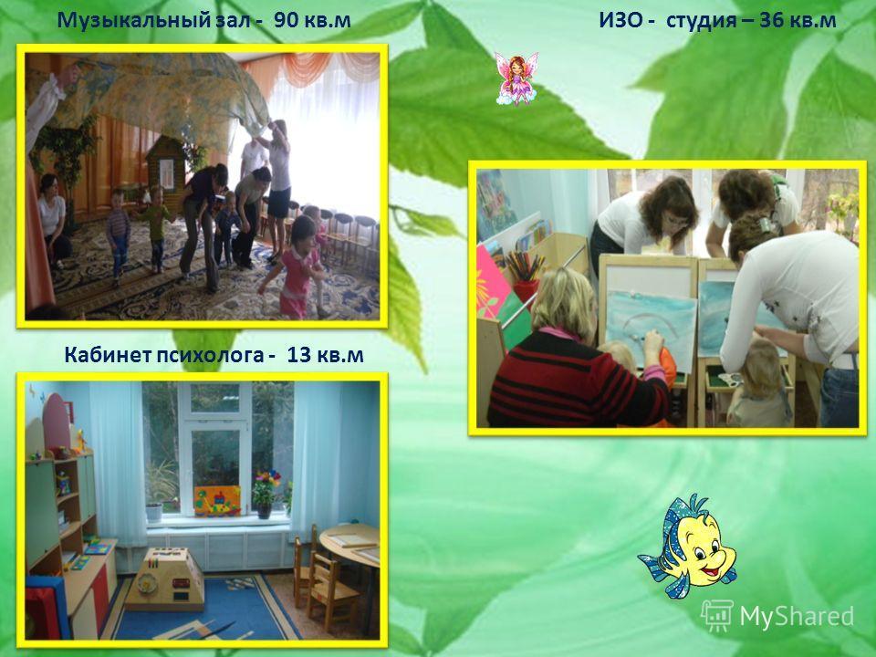 Музыкальный зал - 90 кв.м ИЗО - студия – 36 кв.м Кабинет психолога - 13 кв.м