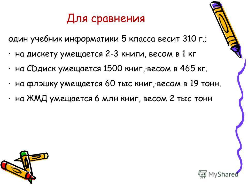Для сравнения один учебник информатики 5 класса весит 310 г.; · на дискету умещается 2-3 книги, весом в 1 кг · на CDдиск умещается 1500 книг,·весом в 465 кг. · на флэшку умещается 60 тыс книг,·весом в 19 тонн. · на ЖМД умещается 6 млн книг, весом 2 т