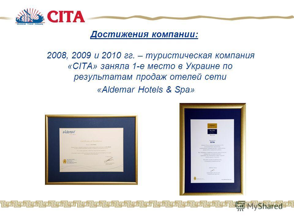 Достижения компании: 2008, 2009 и 2010 гг. – туристическая компания «CITA» заняла 1-е место в Украине по результатам продаж отелей сети «Aldemar Hotels & Spa»