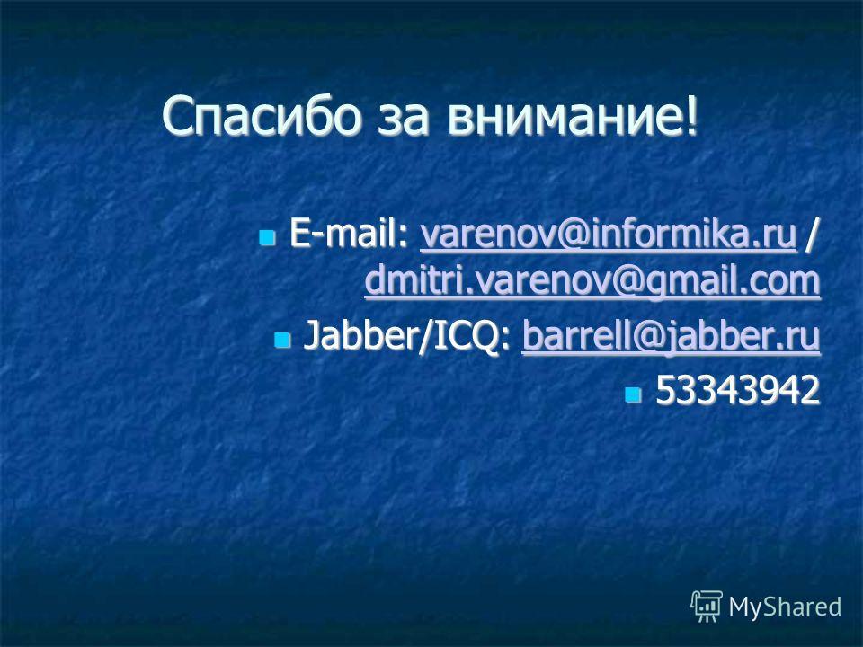 Спасибо за внимание! E-mail: varenov@informika.ru / dmitri.varenov@gmail.com E-mail: varenov@informika.ru / dmitri.varenov@gmail.comvarenov@informika.ru dmitri.varenov@gmail.comvarenov@informika.ru dmitri.varenov@gmail.com Jabber/ICQ: barrell@jabber.