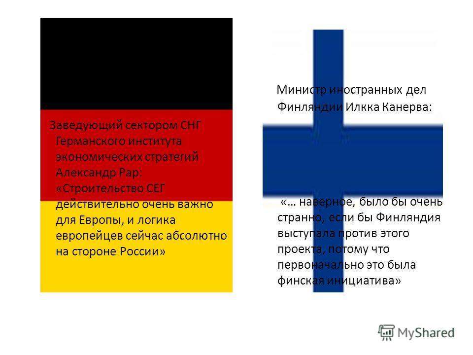 Заведующий сектором СНГ Германского института экономических стратегий Александр Рар: «Строительство СЕГ действительно очень важно для Европы, и логика европейцев сейчас абсолютно на стороне России» Министр иностранных дел Финляндии Илкка Канерва: «…
