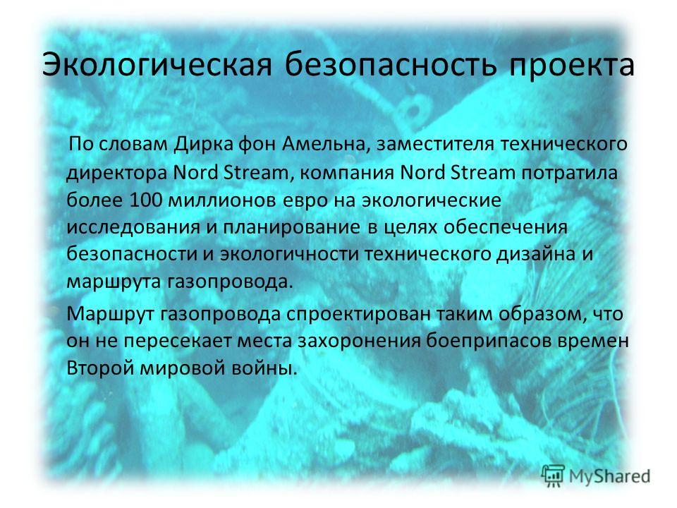 Экологическая безопасность проекта По словам Дирка фон Амельна, заместителя технического директора Nord Stream, компания Nord Stream потратила более 100 миллионов евро на экологические исследования и планирование в целях обеспечения безопасности и эк