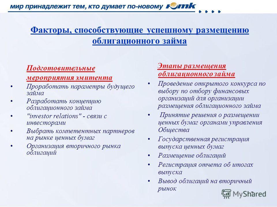 7 Факторы, способствующие успешному размещению облигационного займа Подготовительные мероприятия эмитента Проработать параметры будущего займа Разработать концепцию облигационного займа