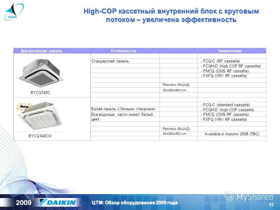 11 ЦТМ: Обзор оборудования 2009 года High-COP кассетный внутренний блок с круговым потоком – увеличена эффективность