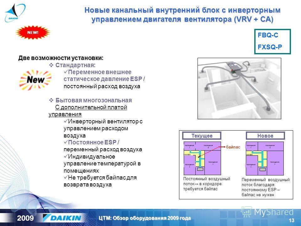 13 ЦТМ: Обзор оборудования 2009 года Две возможности установки: Стандартная: Переменное внешнее статическое давление ESP / постоянный расход воздуха Бытовая многозональная С дополнительной платой управления Инверторный вентилятор с управлением расход
