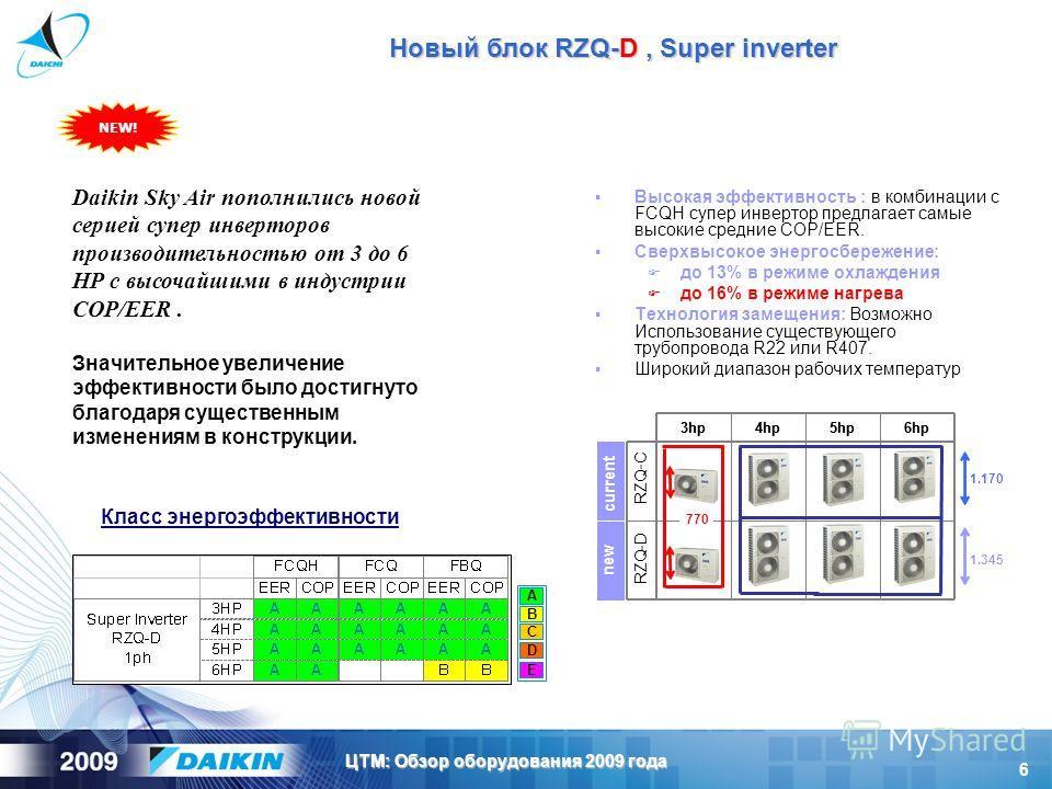 6 ЦТМ: Обзор оборудования 2009 года Высокая эффективность : в комбинации с FCQH супер инвертор предлагает самые высокие средние COP/EER. Сверхвысокое энергосбережение: до 13% в режиме охлаждения до 16% в режиме нагрева Технология замещения: Возможно