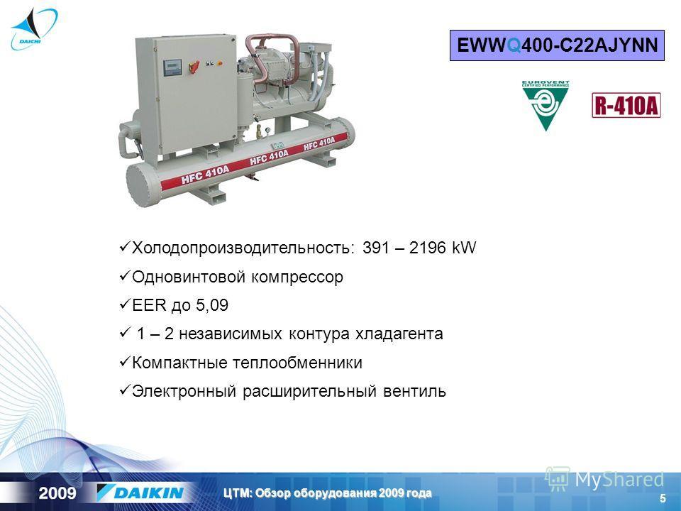 5 ЦТМ: Обзор оборудования 2009 года Холодопроизводительность: 391 – 2196 kW Одновинтовой компрессор EER до 5,09 1 – 2 независимых контура хладагента Компактные теплообменники Электронный расширительный вентиль EWWQ400-С22AJYNN