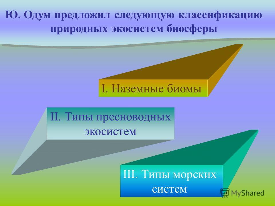 Ю. Одум предложил следующую классификацию природных экосистем биосферы I. Наземные биомы II. Типы пресноводных экосистем III. Типы морских систем