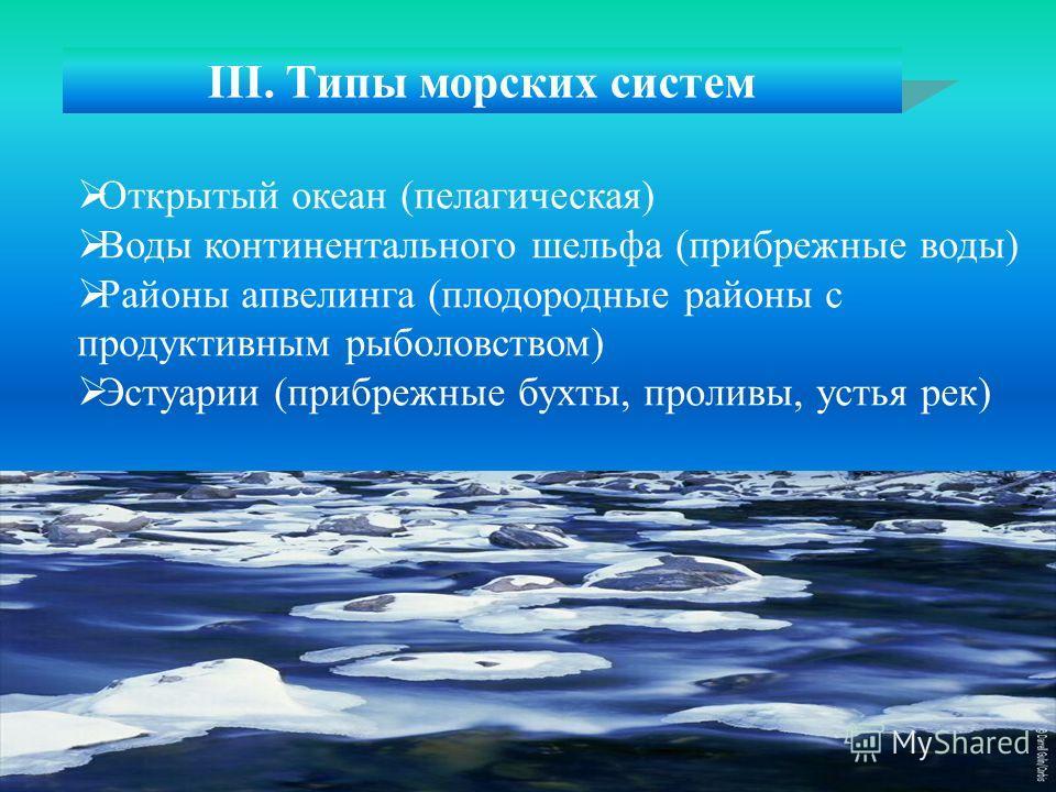 III. Типы морских систем Открытый океан (пелагическая) Воды континентального шельфа (прибрежные воды) Районы апвелинга (плодородные районы с продуктивным рыболовством) Эстуарии (прибрежные бухты, проливы, устья рек)