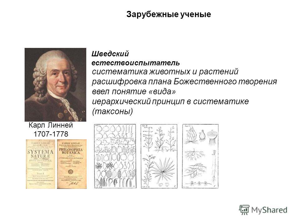 Зарубежные ученые Карл Линней 1707-1778 систематика животных и растений расшифровка плана Божественного творения ввел понятие «вида» иерархический принцип в систематике (таксоны) Шведский естествоиспытатель