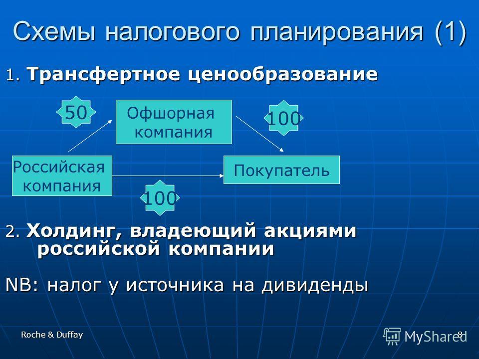 Roche & Duffay8 Схемы налогового планирования (1) 1. Трансфертное ценообразование 2. Холдинг, владеющий акциями российской компании NB: налог у источника на дивиденды Российская компания Офшорная компания Покупатель 50 100