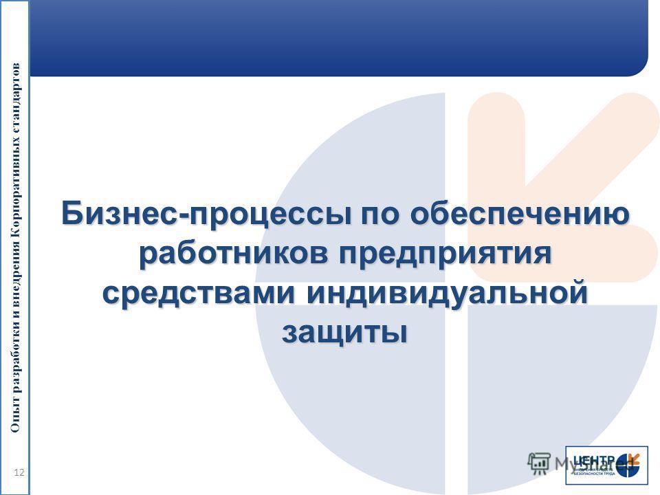 Опыт разработки и внедрения Корпоративных стандартов Бизнес-процессы по обеспечению работников предприятия средствами индивидуальной защиты 12