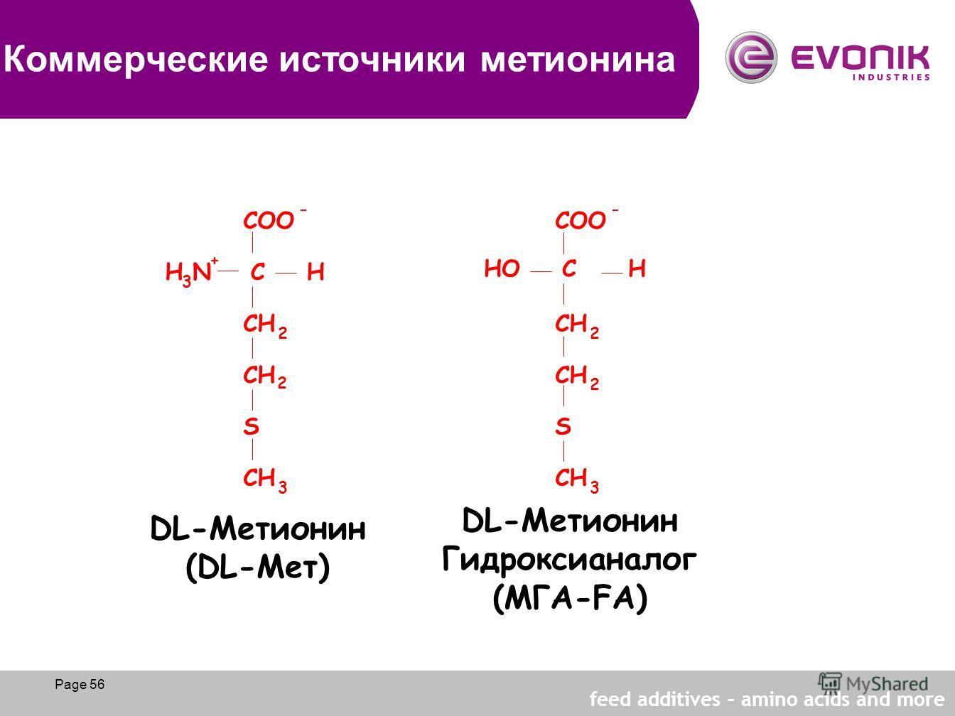 Page 56 C H COO - - H 3 N + CH 2 2 2 2 SS 3 3 DL-Метионин (DL-Meт) DL-Метионин Гидроксианалог (МГА-FA) HO C H Коммерческие источники метионина Page 56 feed additives – amino acids and more