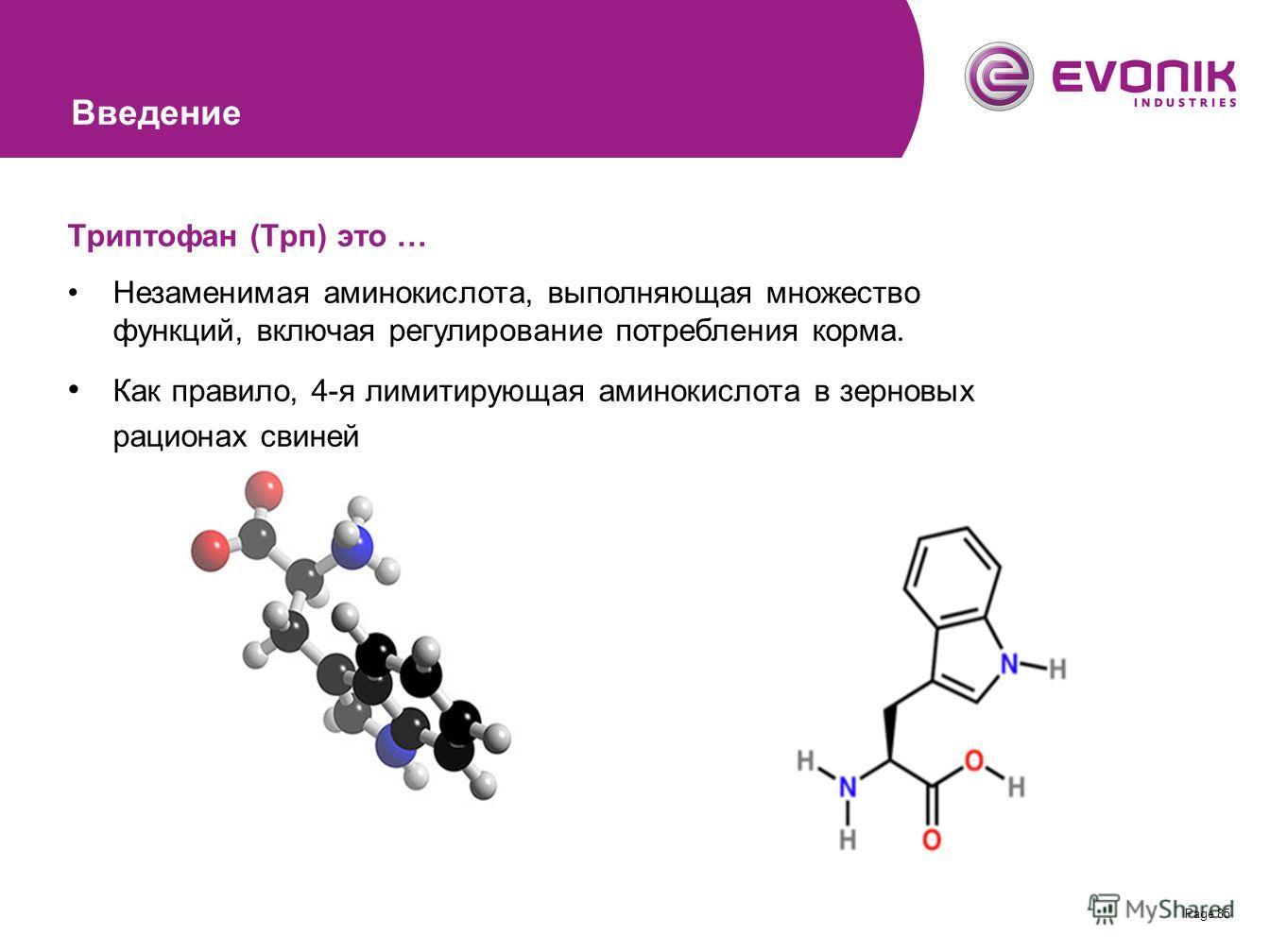 Page 85 Триптофан (Трп) это … Незаменимая аминокислота, выполняющая множество функций, включая регулирование потребления корма. Как правило, 4-я лимитирующая аминокислота в зерновых рационах свиней Введение