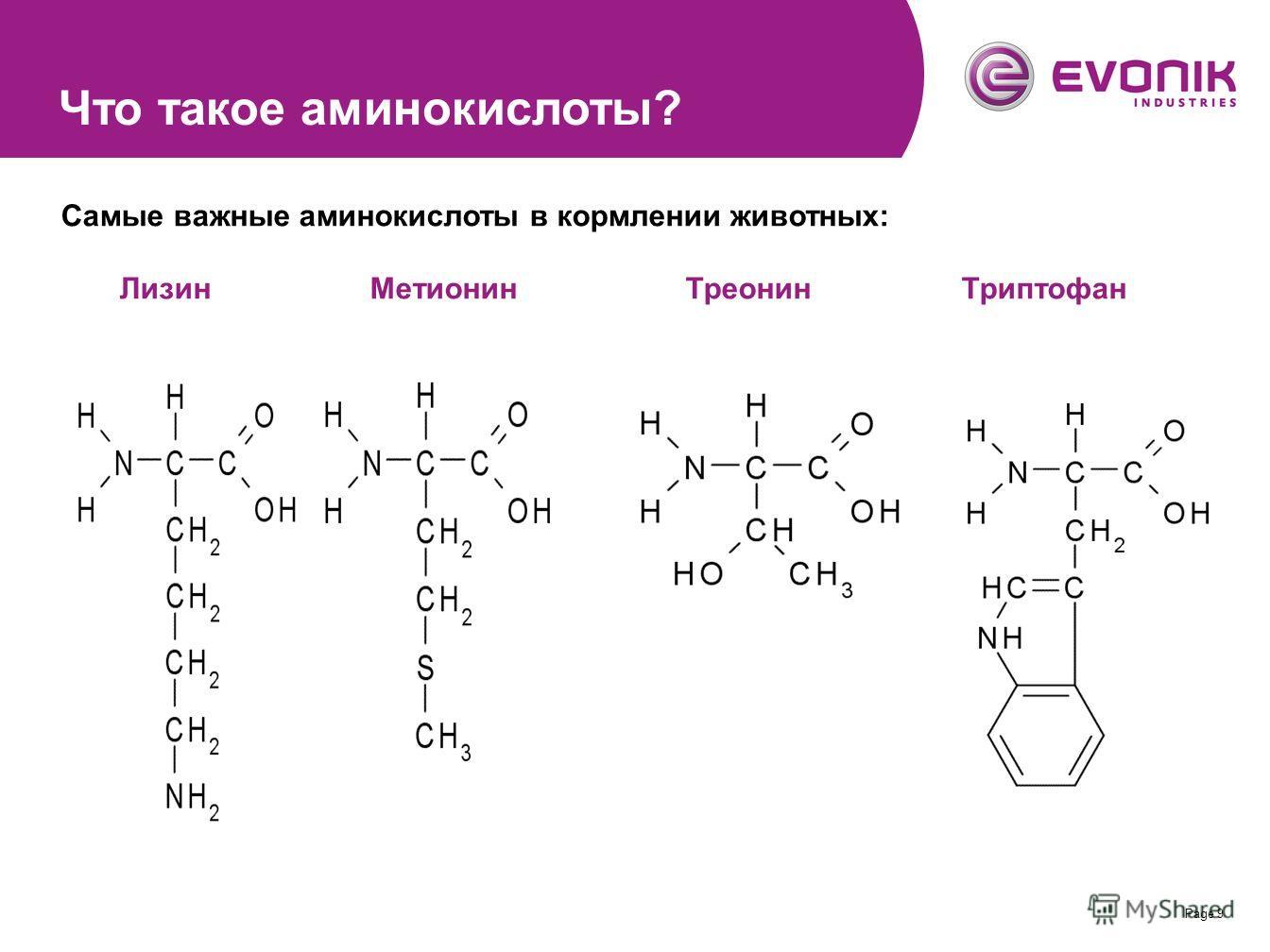Page 9 Самые важные аминокислоты в кормлении животных: Лизин Метионин Треонин Триптофан Что такое аминокислоты?