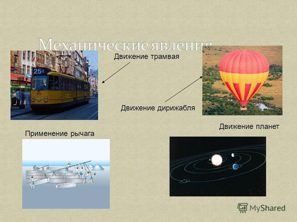 Движение трамвая Движение дирижабля Применение рычага Движение планет