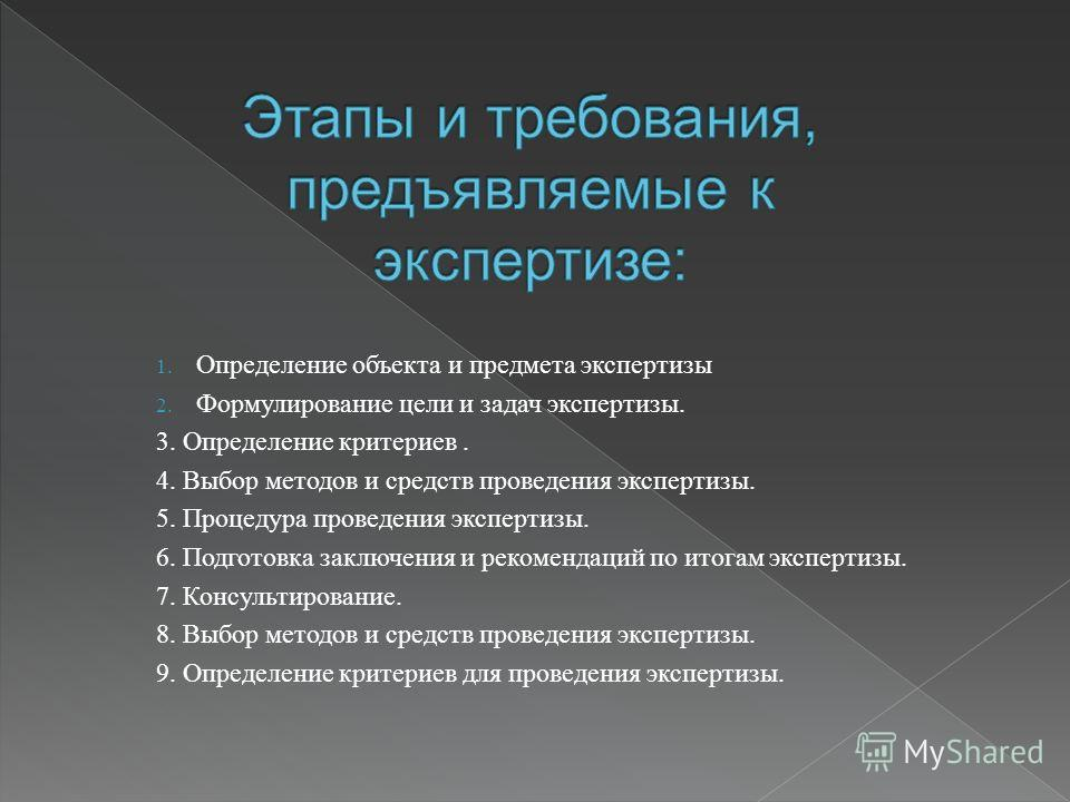 1. Определение объекта и предмета экспертизы 2. Формулирование цели и задач экспертизы. 3. Определение критериев. 4. Выбор методов и средств проведения экспертизы. 5. Процедура проведения экспертизы. 6. Подготовка заключения и рекомендаций по итогам