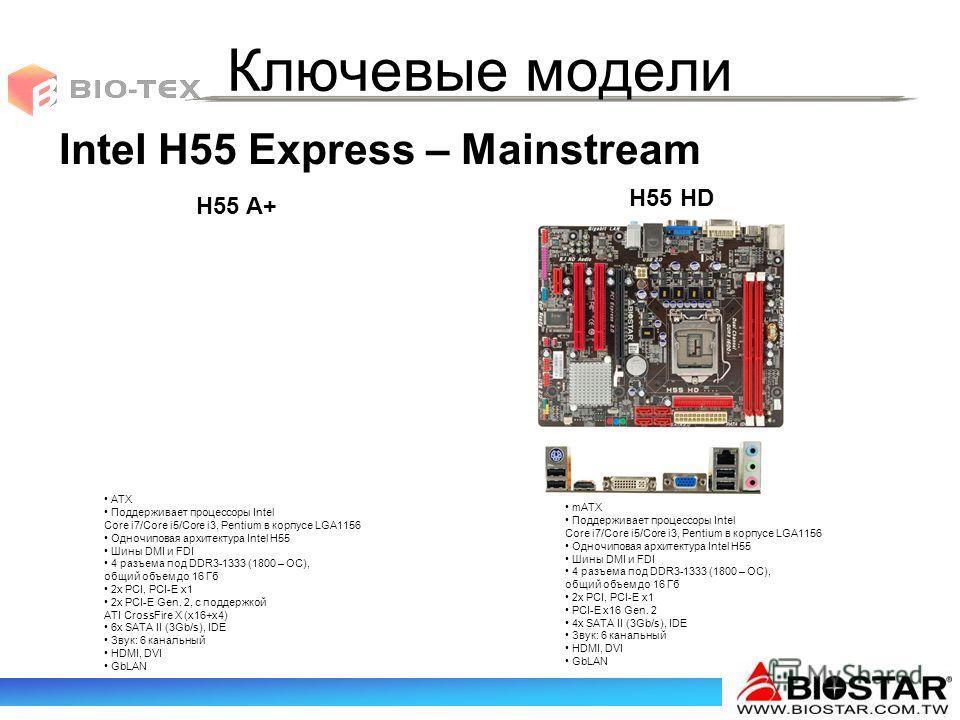 Ключевые модели H55 A+ H55 HD Intel H55 Express – Mainstream mATX Поддерживает процессоры Intel Core i7/Core i5/Core i3, Pentium в корпусе LGA1156 Одночиповая архитектура Intel H55 Шины DMI и FDI 4 разъема под DDR3-1333 (1800 – ОС), общий объем до 16