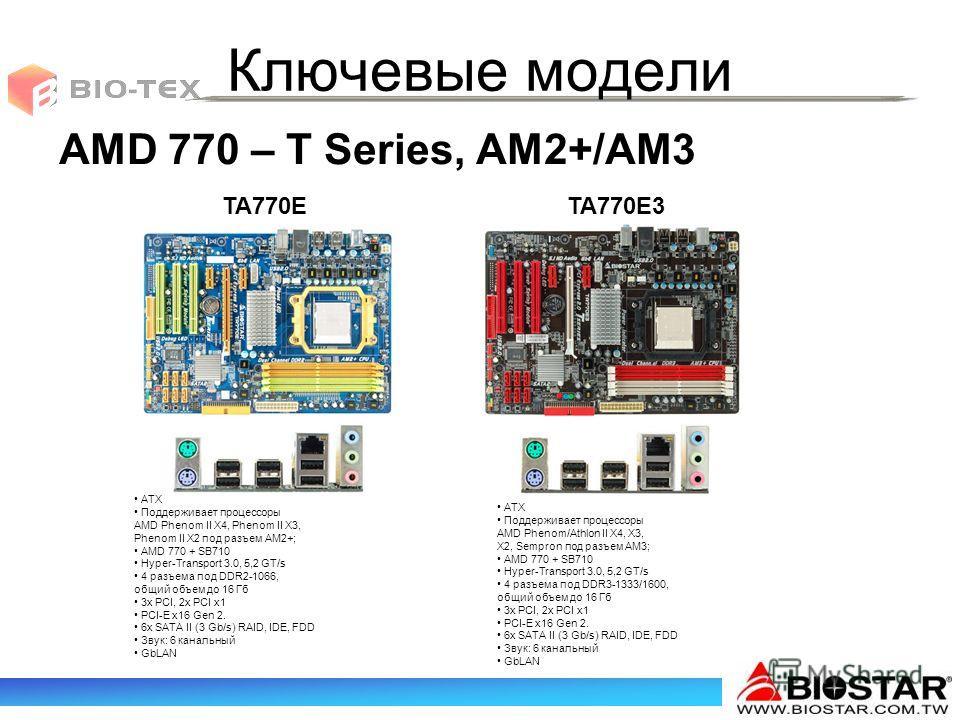 Ключевые модели AMD 770 – T Series, AM2+/AM3 ATX Поддерживает процессоры AMD Phenom II X4, Phenom II X3, Phenom II X2 под разъем AM2+; AMD 770 + SB710 Hyper-Transport 3.0, 5,2 GT/s 4 разъема под DDR2-1066, общий объем до 16 Гб 3x PCI, 2x PCI x1 PCI-E