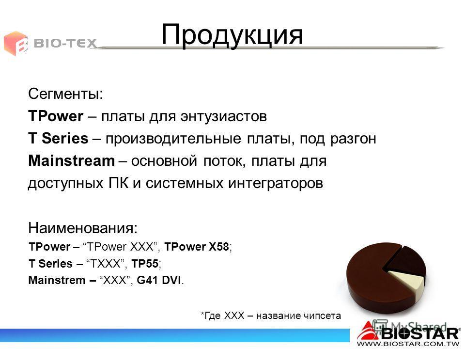 Продукция Сегменты: TPower – платы для энтузиастов T Series – производительные платы, под разгон Mainstream – основной поток, платы для доступных ПК и системных интеграторов Наименования: TPower – TPower XXX, TPower X58; T Series – TXXX, TP55; Mainst