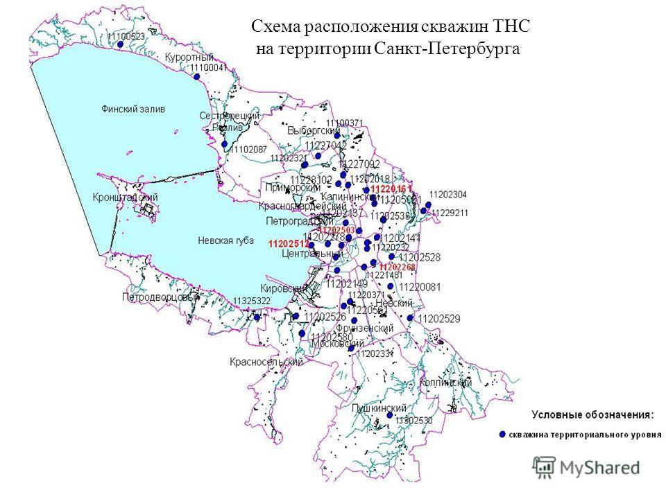 Схема расположения скважин ТНС на территории Санкт-Петербурга