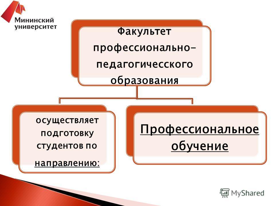 Факультет профессионально- педагогичесского образования осуществляет подготовку студентов по направлению: Профессиональное обучение