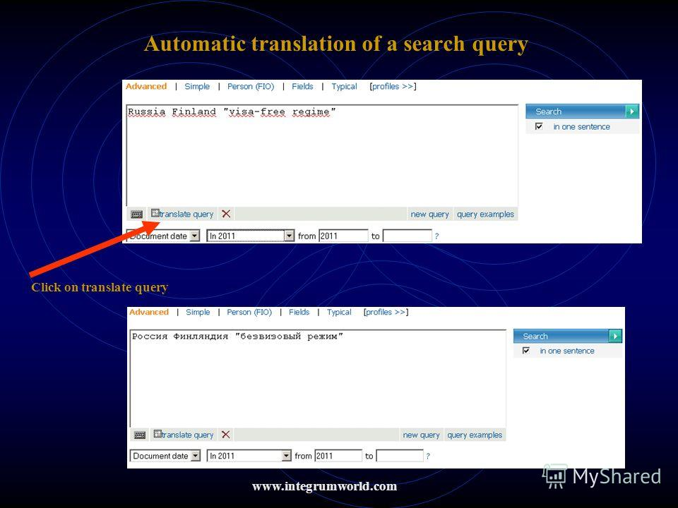 Automatic translation of a search query Click on translate query www.integrumworld.com