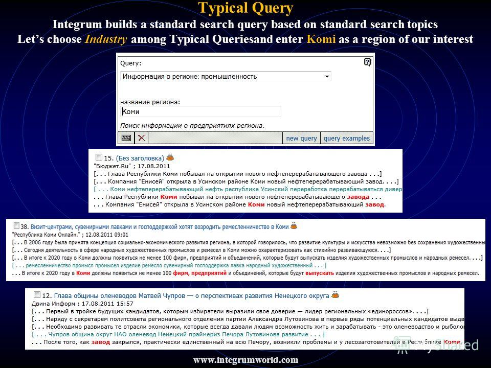 www.integrumworld.com Typical Query Integrum builds a standard search query based on standard search topics Lets choose Industry among Typical Queriesand enter Komi as a region of our interest