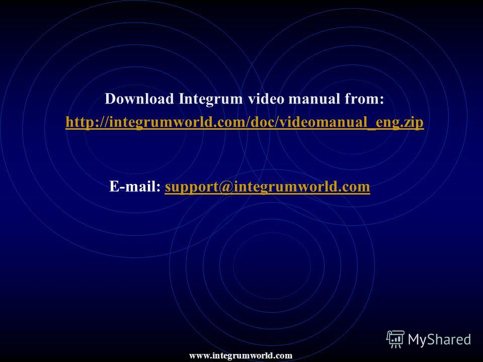 Download Integrum video manual from: http://integrumworld.com/doc/videomanual_eng.zip E-mail: support@integrumworld.comsupport@integrumworld.com www.integrumworld.com