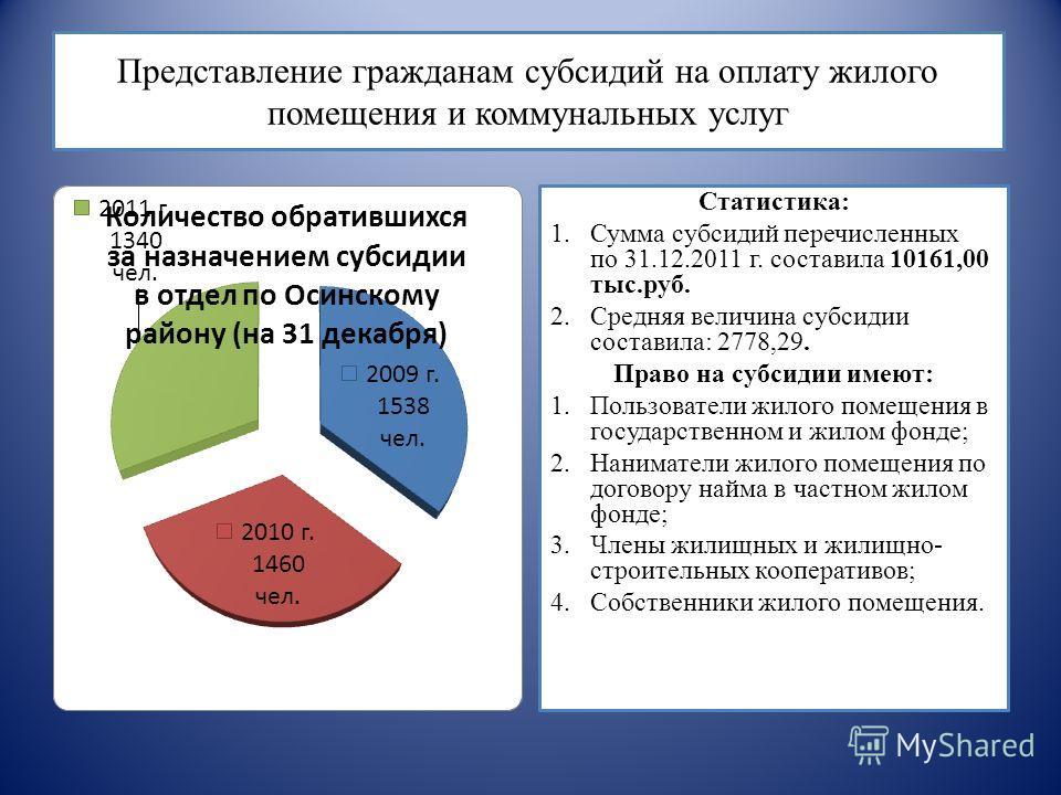 Представление гражданам субсидий на оплату жилого помещения и коммунальных услуг Статистика: 1. Сумма субсидий перечисленных по 31.12.2011 г. составила 10161,00 тыс.руб. 2.Средняя величина субсидии составила: 2778,29. Право на субсидии имеют: 1.Польз
